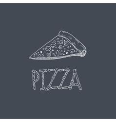Pizza Sketch Style Chalk On Blackboard Menu Item vector image