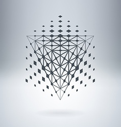 Pyramid with connected lines and dots Abstract vector image