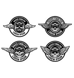Racer emblems set of winged emblems with skulls vector