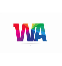 rainbow colored alphabet combination letter wa w vector image