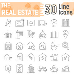 Real estate thin line icon set home signs vector