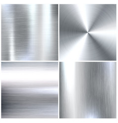 Realistic brushed metal textures set polished vector