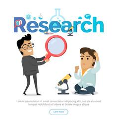 Research conceptual flat web banner vector