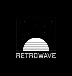Retrowave t-shirt and apparel design with striped vector