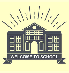 school building retro logo badge vector image