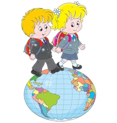 Schoolchildren going on a globe vector