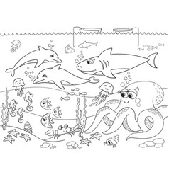 seabed with marine animals coloring for vector image