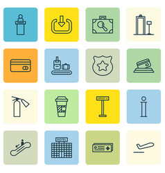 set of 16 traveling icons includes information vector image