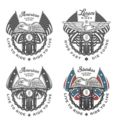 set vintage motorcycle emblems vector image