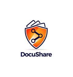 sharing symbol with orange guard shield logo vector image