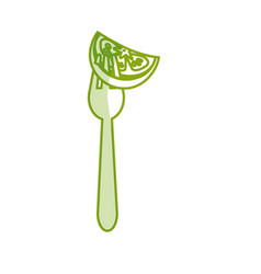 Silhouette fresh piece tomato in the fork utensil vector