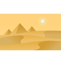 Silhouette of desert and sun landscape vector image