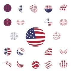 spherical gray color symbols usa flag vector image