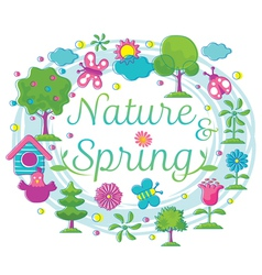 Spring Season Object Icons Heading Hand Draw Style vector image
