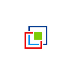 Square technology colored logo vector