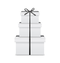 Stack three realistic white gift boxes vector