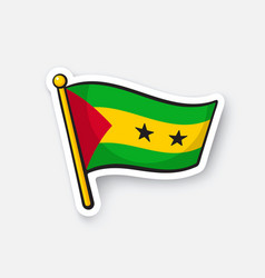 Sticker flag sao tome and principe vector