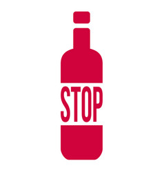 stop alcohol sign with bottle isolated on white vector image