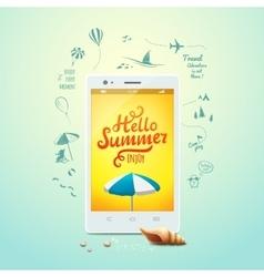 summer poster hello typographic vector image