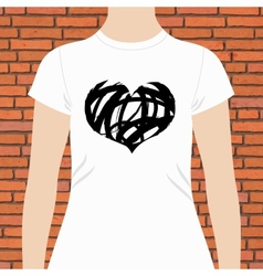 T-shirt template design of a black and white heart vector image