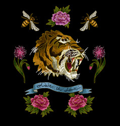 Tiger bee and peony flowers embroidery vector