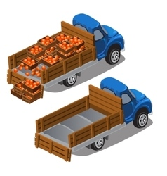 Truck delivers oranges full car and empty vector