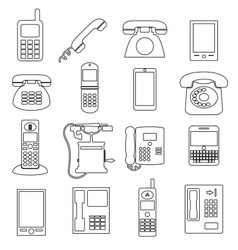 Various black phone symbols and outline icons set vector