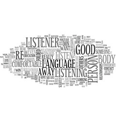 what does your body language tell text word cloud vector image