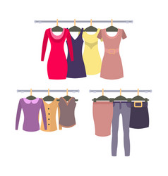 Womens clothing store shop window with clothes vector