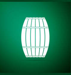 wooden barrel icon isolated on green background vector image