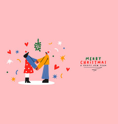 year couple under mistletoe cartoon vector image
