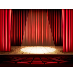 A theater stage with a red curtain seats and a vector