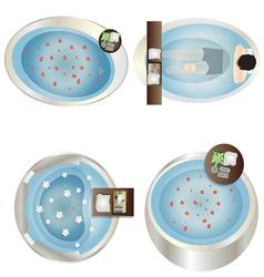 Bathtub top view set 2 vector image vector image