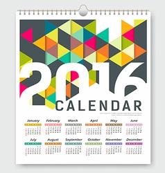 Calendar 2016 colorful triangle geometric vector image vector image