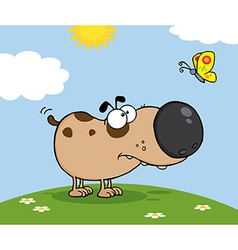 Cute Dog With Butterfly On A Meadow vector image vector image