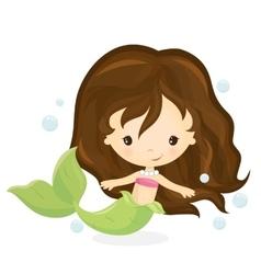Cute mermaid girl vector image