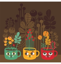 Cute vases with flowers - cat faces vector image