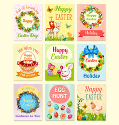 easter egg and rabbit cartoon greeting card set vector image