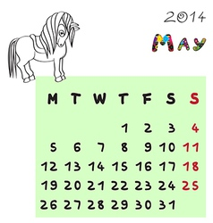horse calendar 2014 may vector image