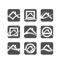 house roof logo icons vector image vector image