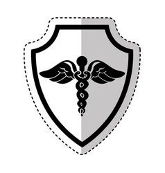 shield insurance with medical symbol isolated icon vector image vector image