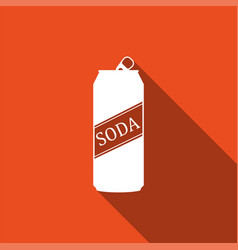 soda can icon isolated with long shadow vector image