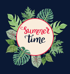 Tropical background with summer time text vector