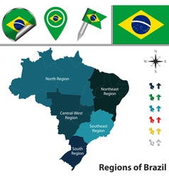 Brazil map with named regions vector image