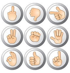 buttons with hands vector image vector image