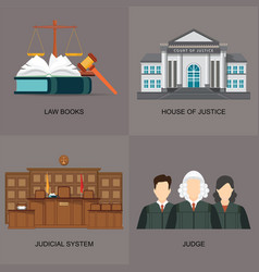 four square flat law icon set with judicial system vector image