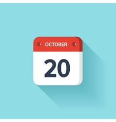 October 20 Isometric Calendar Icon With Shadow vector image vector image