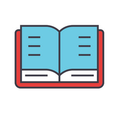 Open book study library concept line vector
