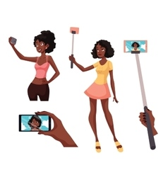 Set of beautiful black girls taking selfie with a vector image