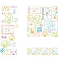 Set of framed pictures seamless pattern and vector image
